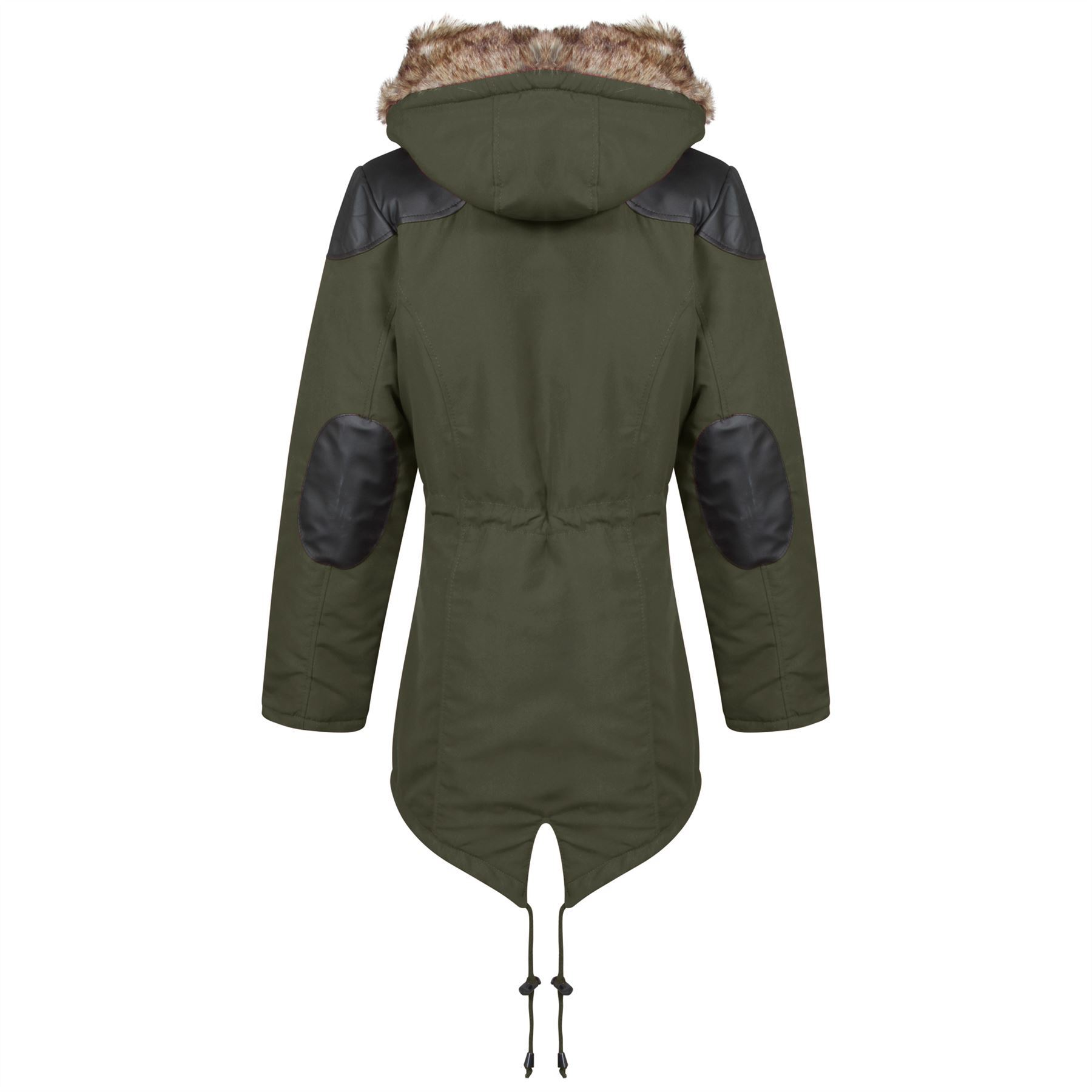 New-Womens-Quilted-Fishtail-Parka-Contrast-Inner-Jacket