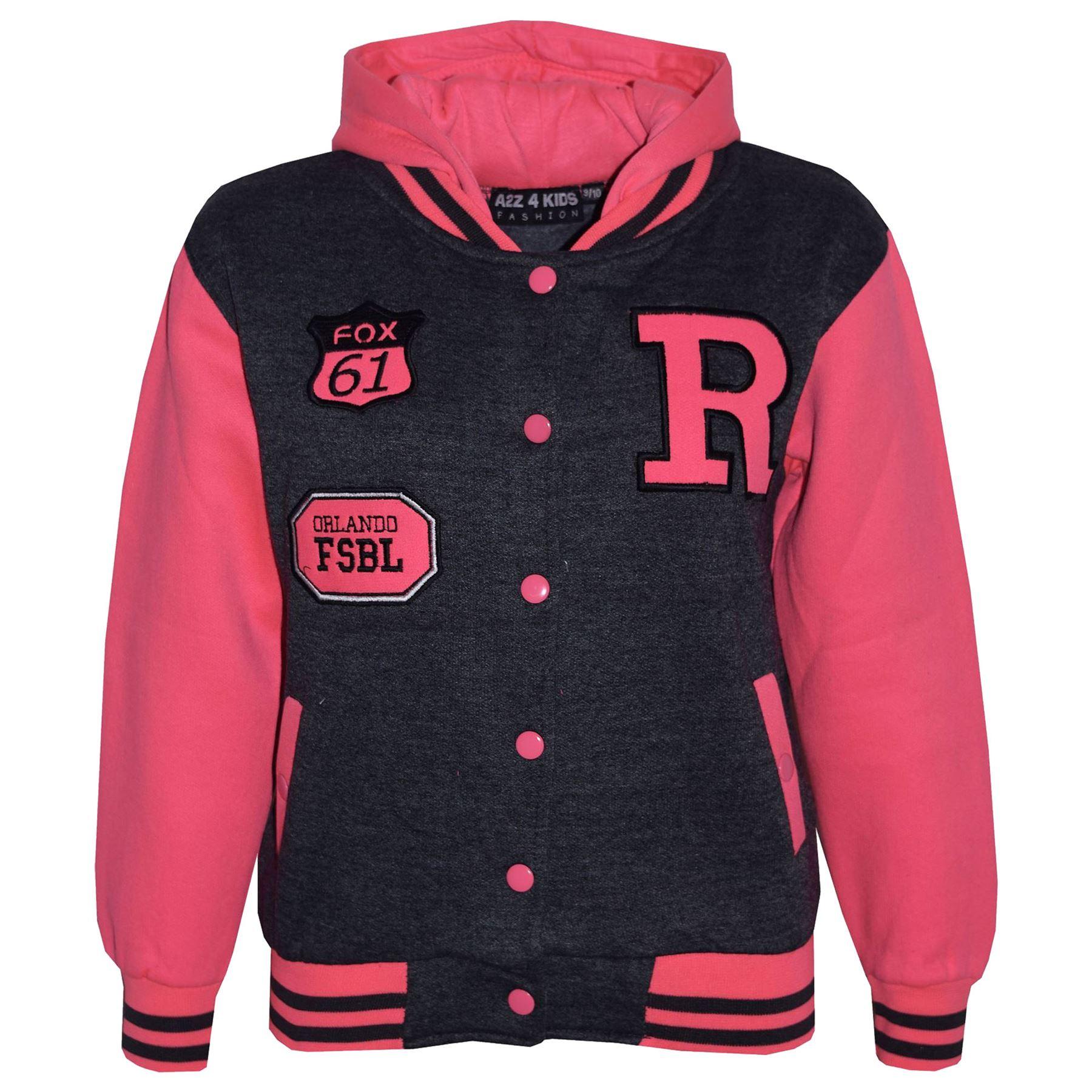Enfants-Filles-Garcons-R-Mode-Nyc-Renard-Baseball-Veste-Capuche-Universitaire