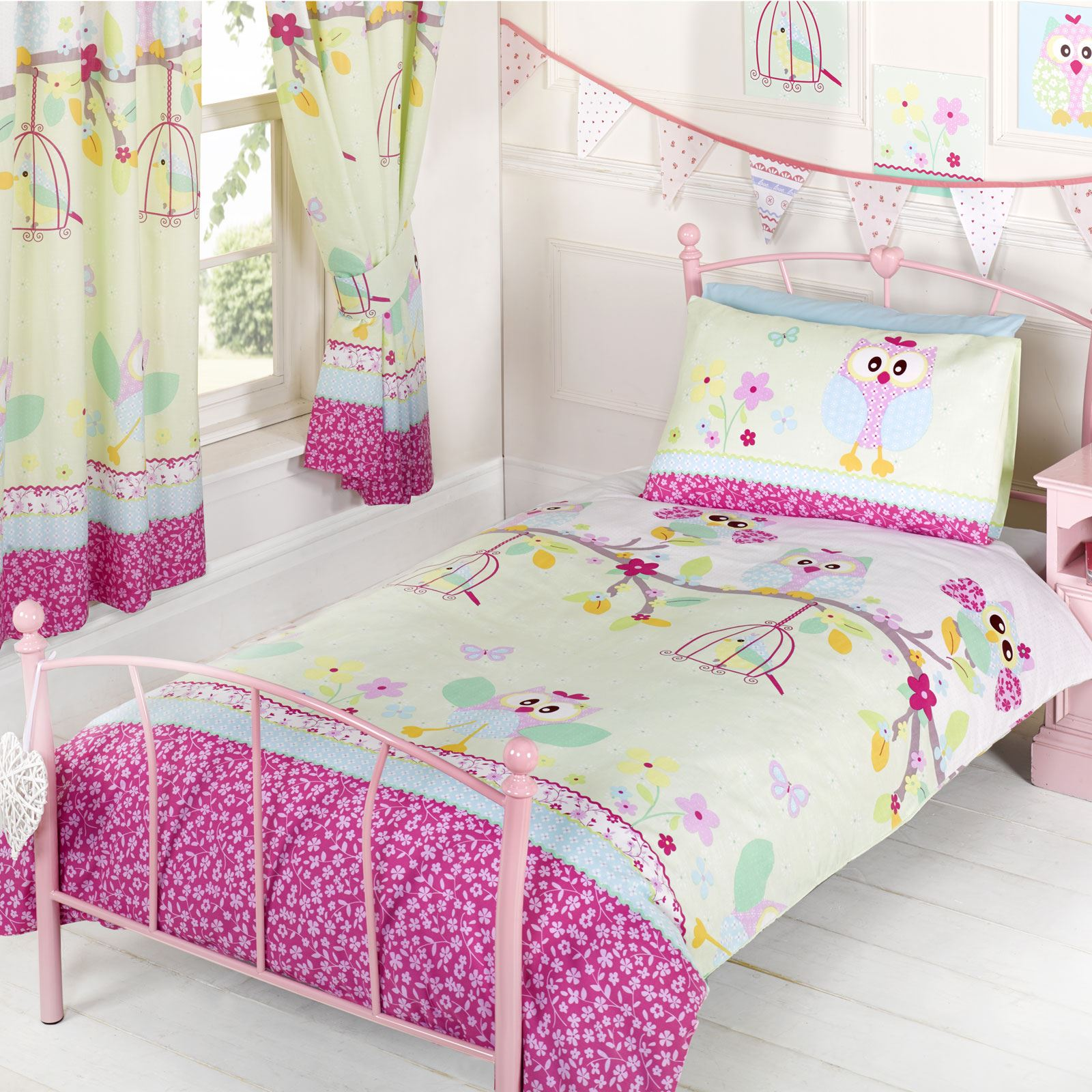 GIRLS DUVET COVERS BEDDING JUNIOR SINGLE DOUBLE UNICORN BIRDS