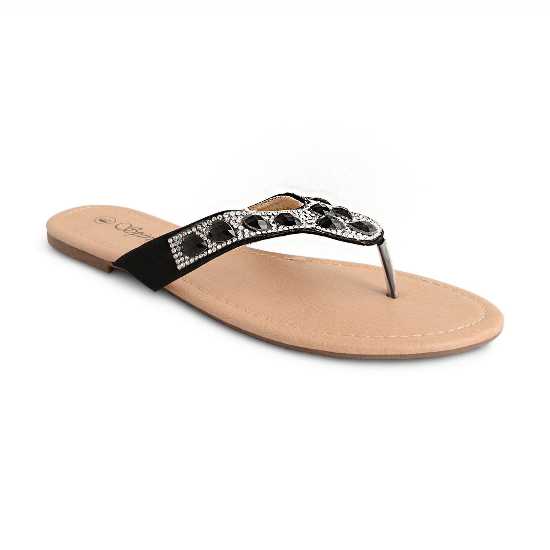 damen zehentrenner strass sommer zehentrenner flach tanga sandalen schuhe gr e ebay. Black Bedroom Furniture Sets. Home Design Ideas