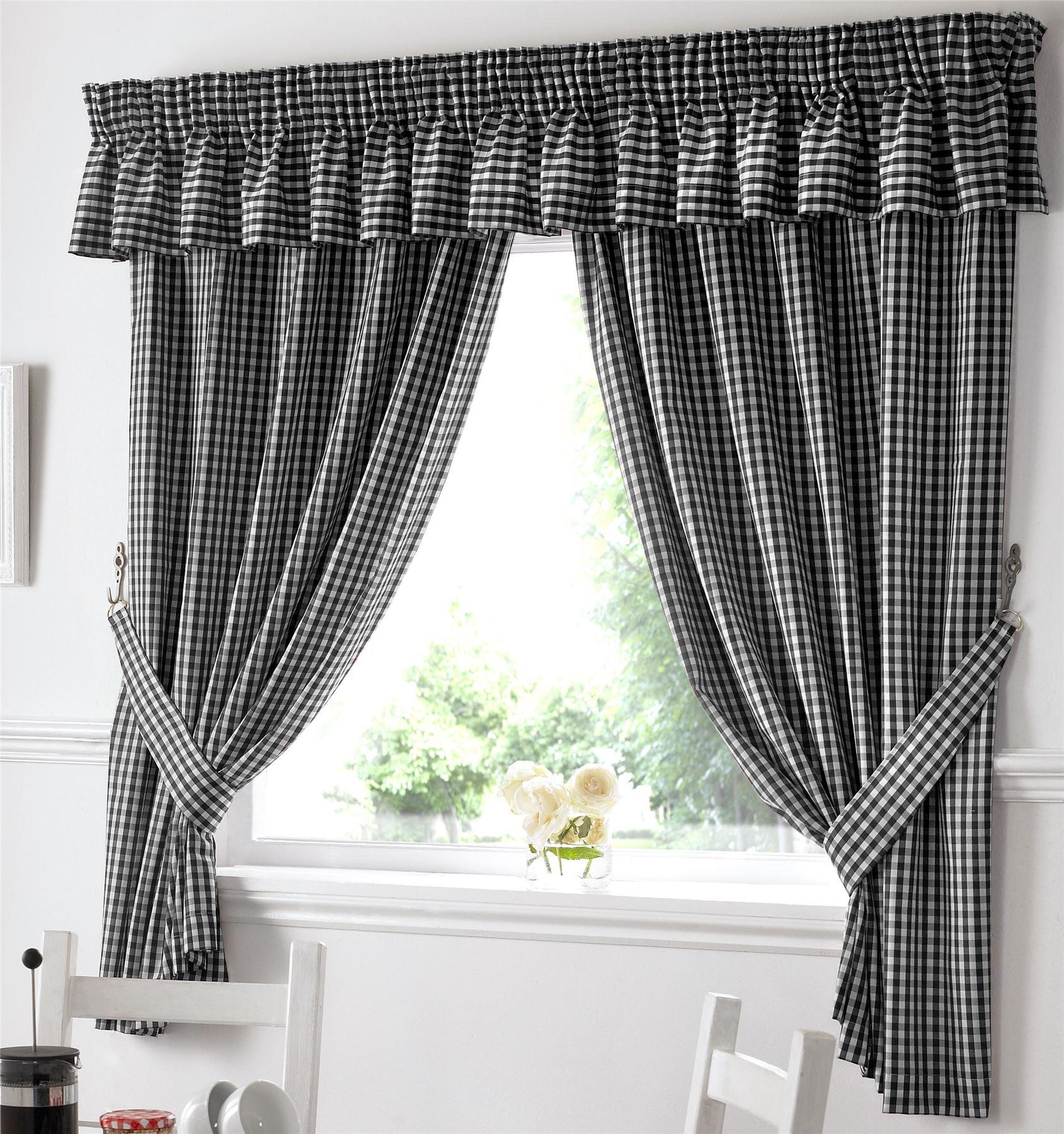 Gingham Küche Fenster Vorhänge passend Querbehang (Volant) NEU | eBay