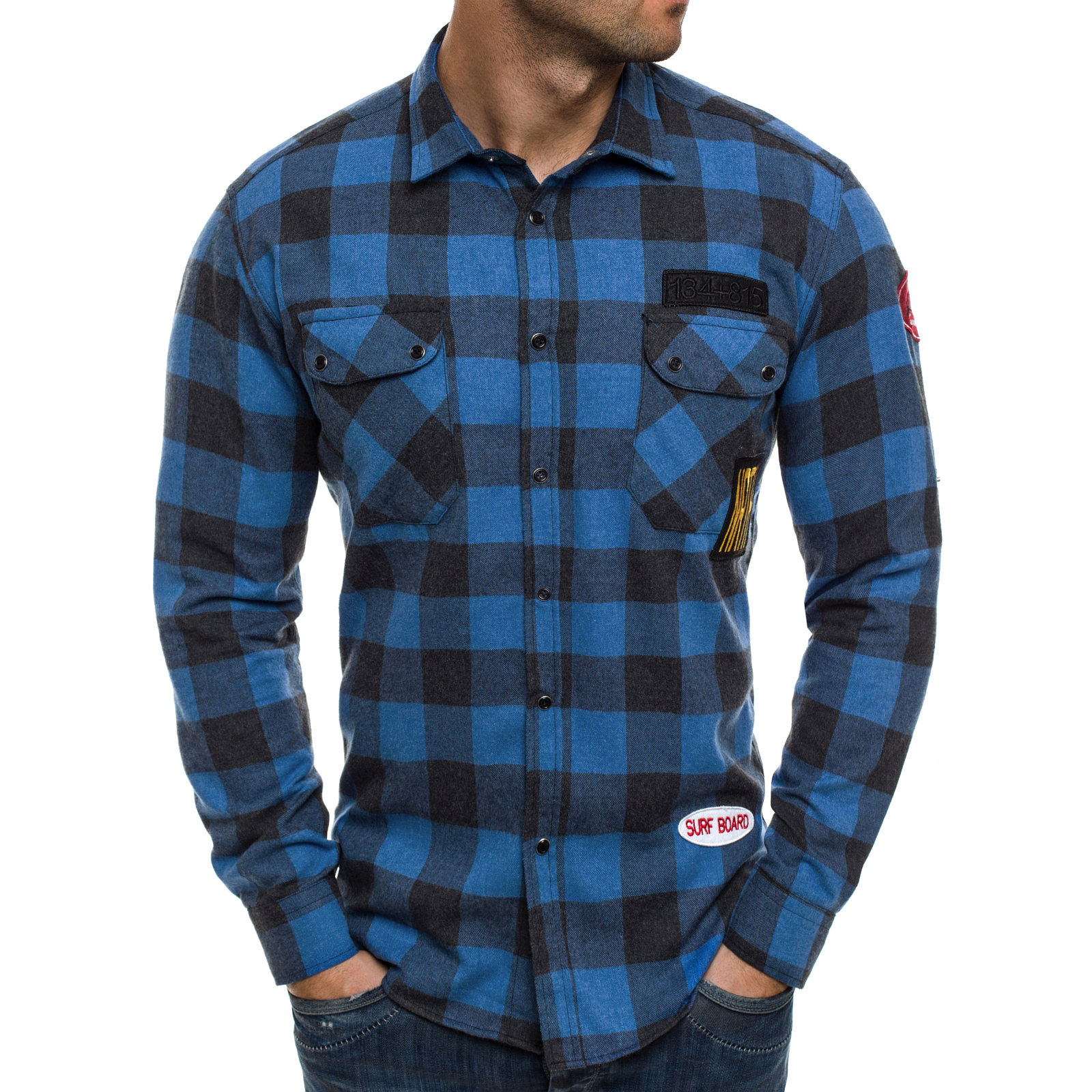 Camisa Vaquera Camiseta Flojo Ceñido Slim Fit Hombre Ozonee 3546 Mix ... 41c0be06c6b
