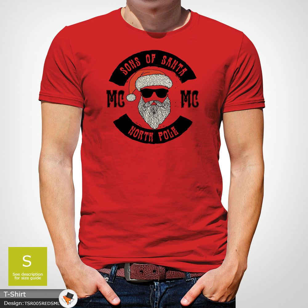 Sons-Of-Santa-T-Shirt-Lustig-Biker-Decembeard-Anarchie-Christmas-T-Shirt-Gruen