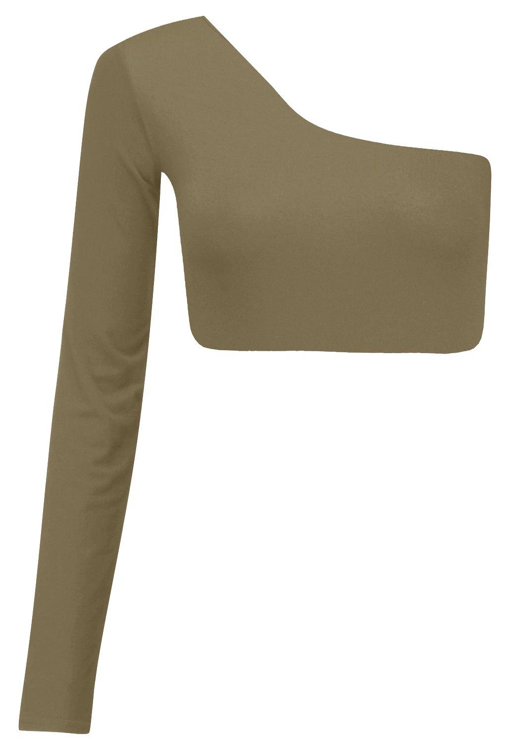neu damen einschultrig kurzes top mit langen rmeln bustier top 8 14 ebay. Black Bedroom Furniture Sets. Home Design Ideas