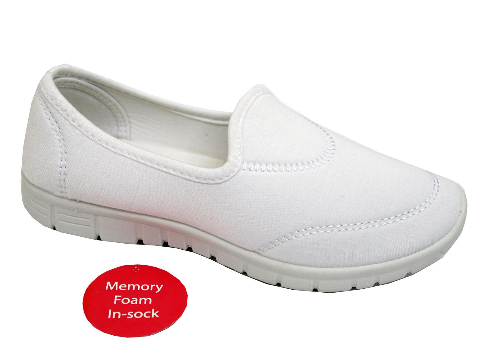 Damen weiß zum reinschlüpfen Memory Foam Komfort Wandern Trainer Pumps Schuhe UK