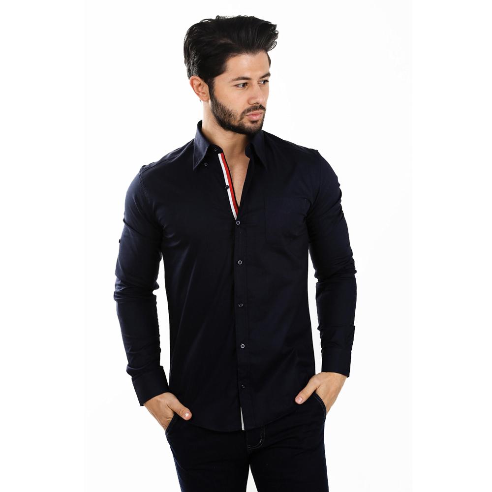 D´Sema Hombre Camisa Manga Larga de S - XL Camiseta Polo Ajustado