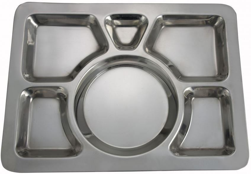 stainless steel 6 compartment food serving dish indian large thali dinner plate ebay. Black Bedroom Furniture Sets. Home Design Ideas