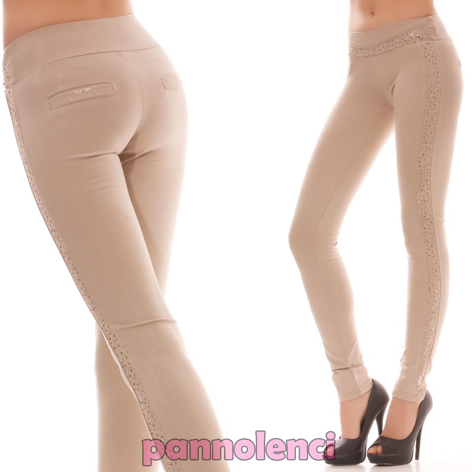 Pantalones-de-mujer-pitillo-estrechos-ajustado-eslasticos-strass-encaje-C6068