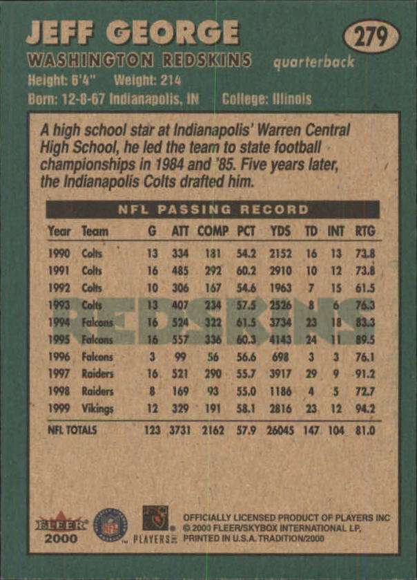 thumbnail 49 - A7983- 2000 Fleer Tradition FB #s 251-400 +Inserts -You Pick- 10+ FREE US SHIP