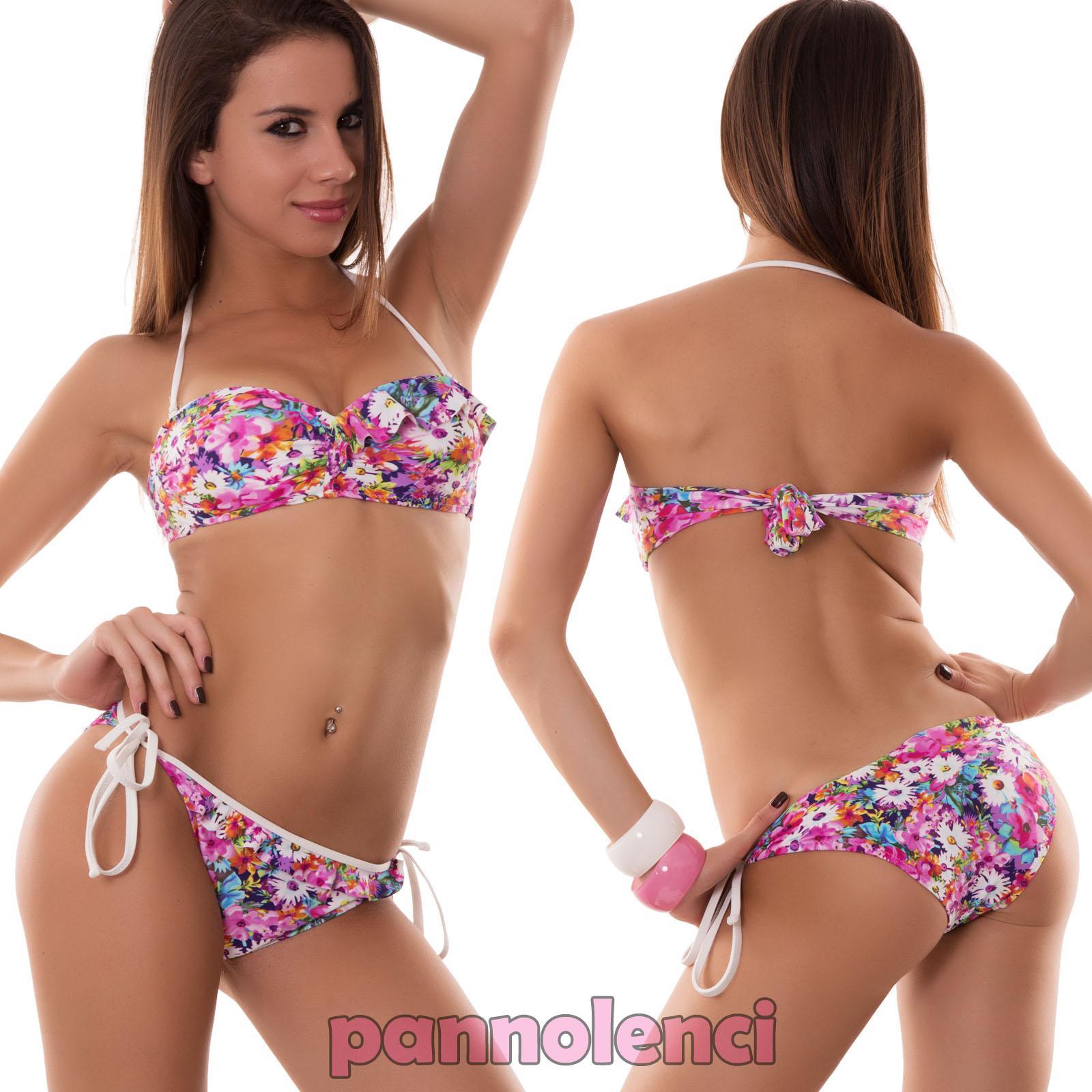 Bikini de mujer traje de ba o varios modelos banda flores for Banos modelos nuevos