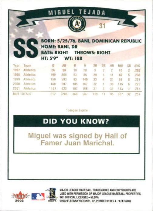 2002-Fleer-Oro-Espaldas-Beisbol-Tarjeta-Recoger miniatura 7
