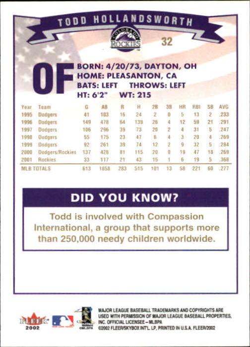 2002-Fleer-Oro-Espaldas-Beisbol-Tarjeta-Recoger miniatura 9