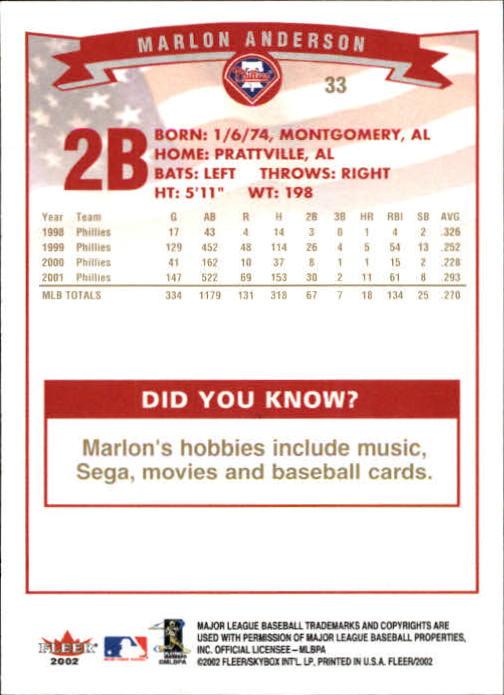 2002-Fleer-Oro-Espaldas-Beisbol-Tarjeta-Recoger miniatura 11