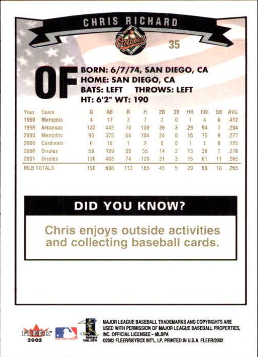 2002-Fleer-Oro-Espaldas-Beisbol-Tarjeta-Recoger miniatura 13