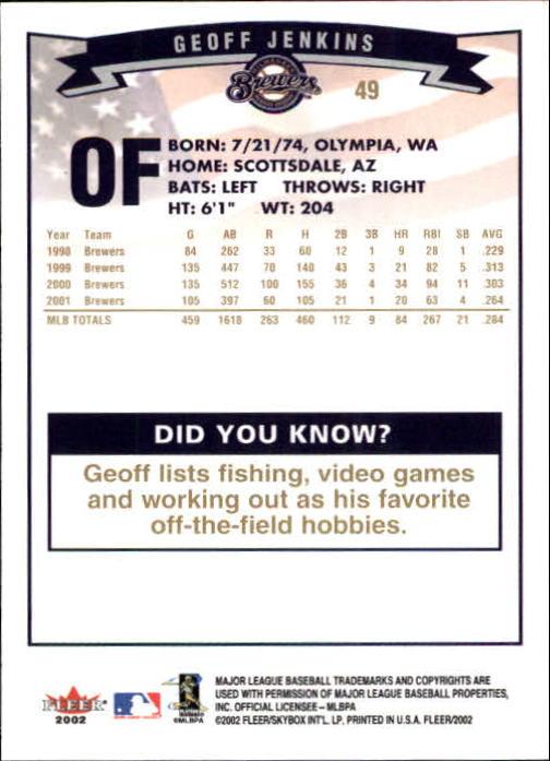 2002-Fleer-Oro-Espaldas-Beisbol-Tarjeta-Recoger miniatura 27