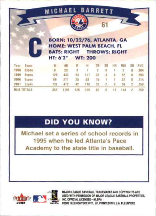 2002-Fleer-Oro-Espaldas-Beisbol-Tarjeta-Recoger miniatura 37