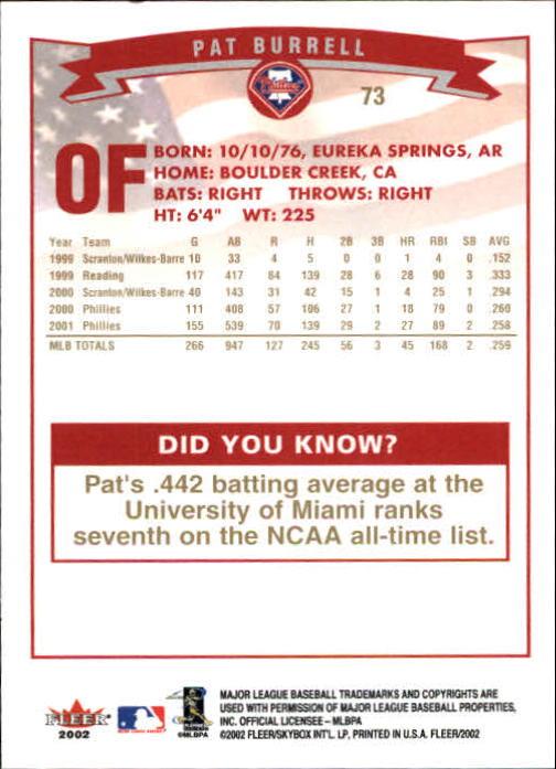 2002-Fleer-Oro-Espaldas-Beisbol-Tarjeta-Recoger miniatura 43