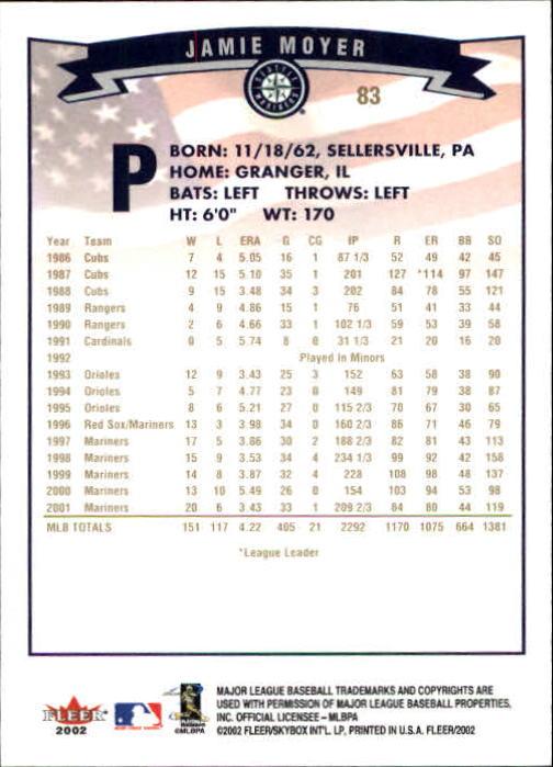 2002-Fleer-Oro-Espaldas-Beisbol-Tarjeta-Recoger miniatura 51