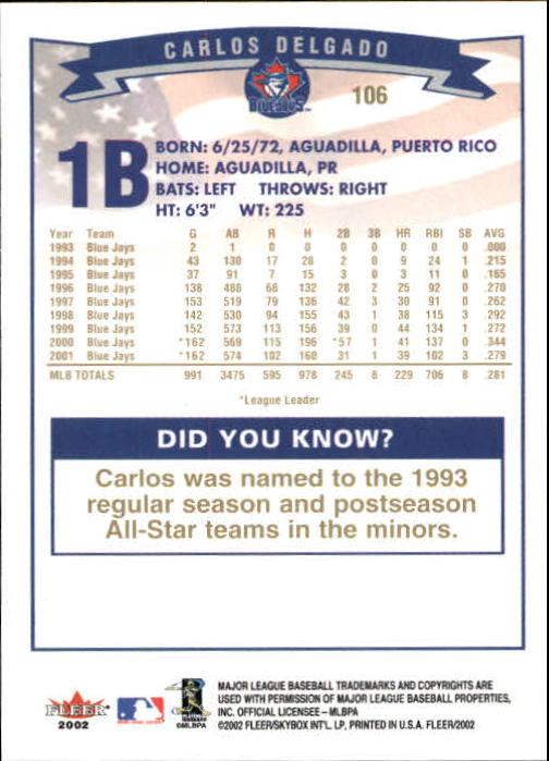2002-Fleer-Oro-Espaldas-Beisbol-Tarjeta-Recoger miniatura 61