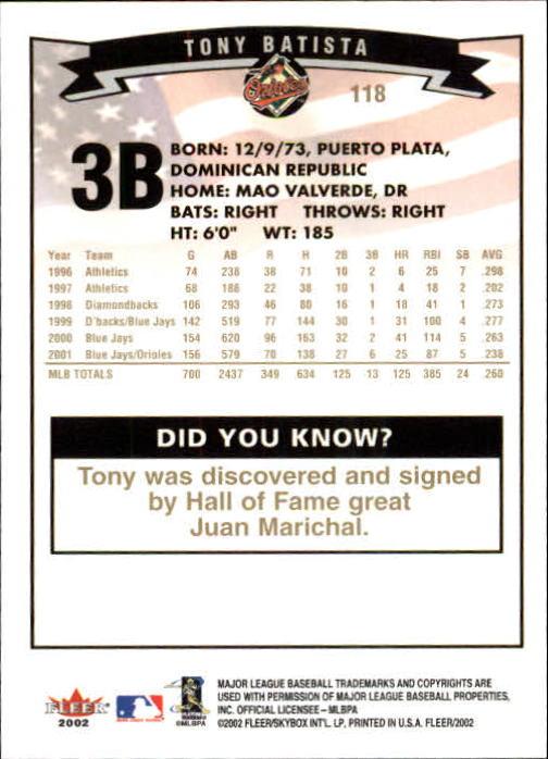 2002-Fleer-Oro-Espaldas-Beisbol-Tarjeta-Recoger miniatura 71