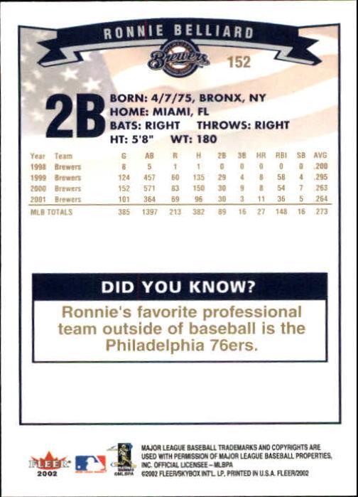 2002-Fleer-Oro-Espaldas-Beisbol-Tarjeta-Recoger miniatura 93