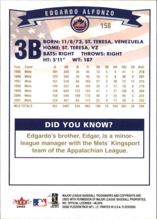2002-Fleer-Oro-Espaldas-Beisbol-Tarjeta-Recoger miniatura 99