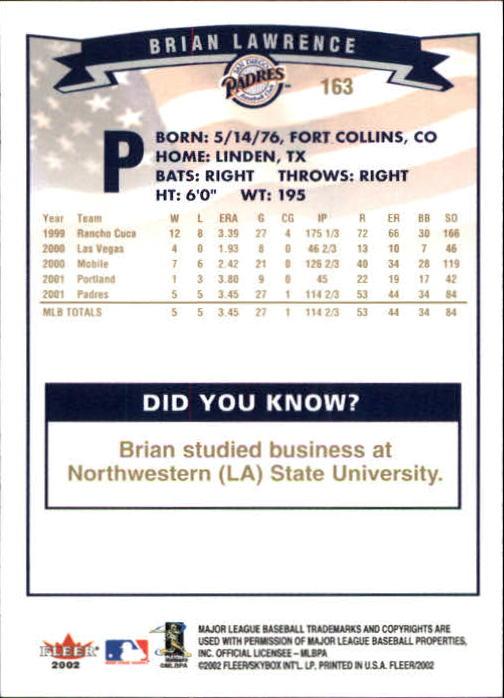 2002-Fleer-Oro-Espaldas-Beisbol-Tarjeta-Recoger miniatura 107