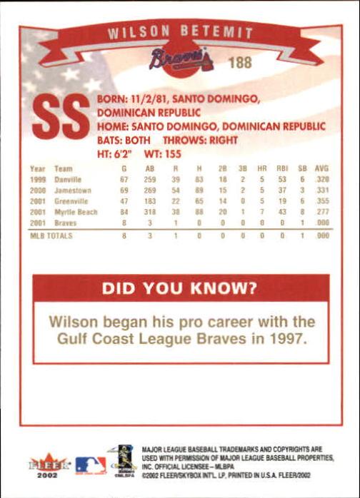 2002-Fleer-Oro-Espaldas-Beisbol-Tarjeta-Recoger miniatura 125