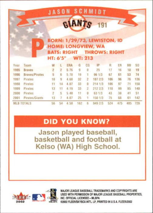 2002-Fleer-Oro-Espaldas-Beisbol-Tarjeta-Recoger miniatura 129