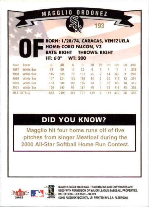2002-Fleer-Oro-Espaldas-Beisbol-Tarjeta-Recoger miniatura 131