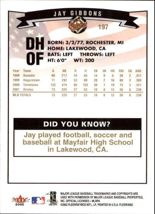 2002-Fleer-Oro-Espaldas-Beisbol-Tarjeta-Recoger miniatura 137