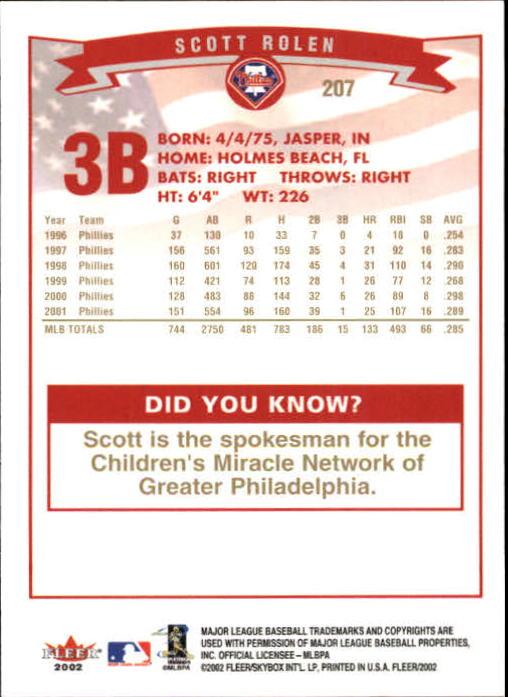 2002-Fleer-Oro-Espaldas-Beisbol-Tarjeta-Recoger miniatura 141