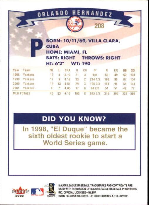2002-Fleer-Oro-Espaldas-Beisbol-Tarjeta-Recoger miniatura 143