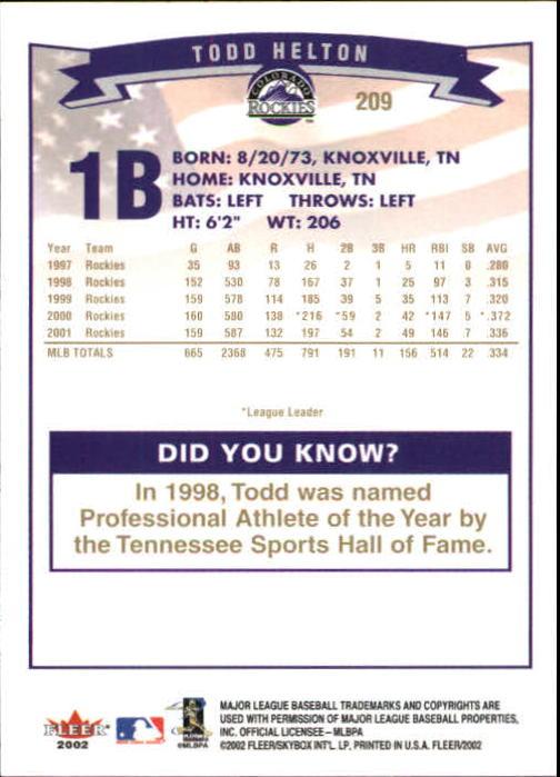 2002-Fleer-Oro-Espaldas-Beisbol-Tarjeta-Recoger miniatura 145