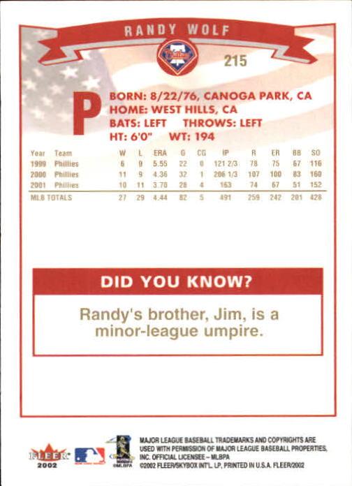 2002-Fleer-Oro-Espaldas-Beisbol-Tarjeta-Recoger miniatura 147