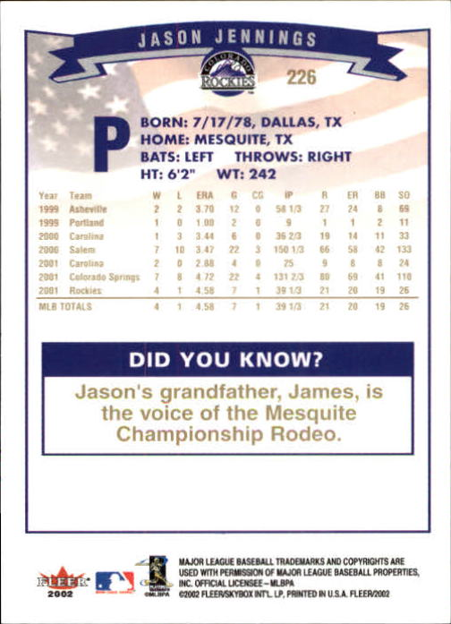 2002-Fleer-Oro-Espaldas-Beisbol-Tarjeta-Recoger miniatura 155