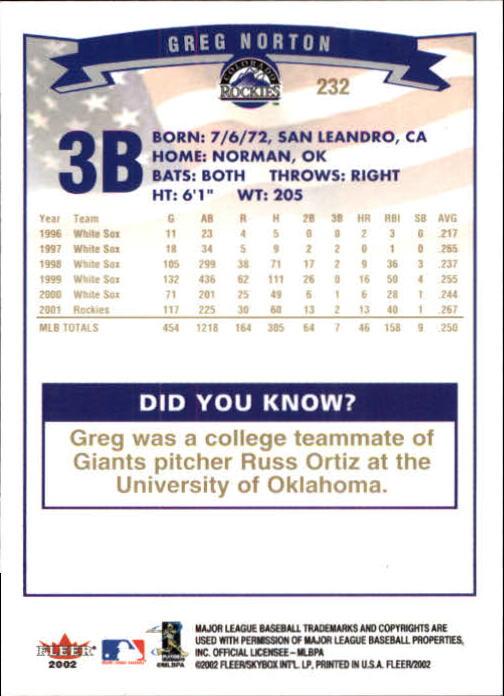2002-Fleer-Oro-Espaldas-Beisbol-Tarjeta-Recoger miniatura 161