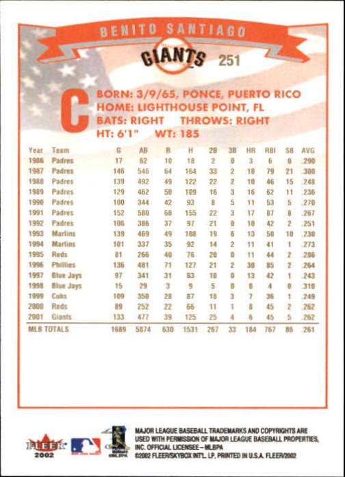 2002-Fleer-Oro-Espaldas-Beisbol-Tarjeta-Recoger miniatura 177