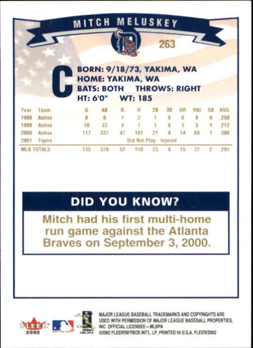 2002-Fleer-Oro-Espaldas-Beisbol-Tarjeta-Recoger miniatura 187