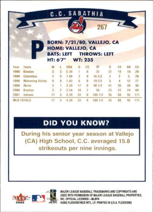 2002-Fleer-Oro-Espaldas-Beisbol-Tarjeta-Recoger miniatura 189