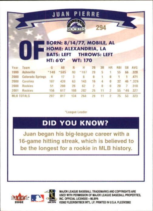 2002-Fleer-Oro-Espaldas-Beisbol-Tarjeta-Recoger miniatura 199