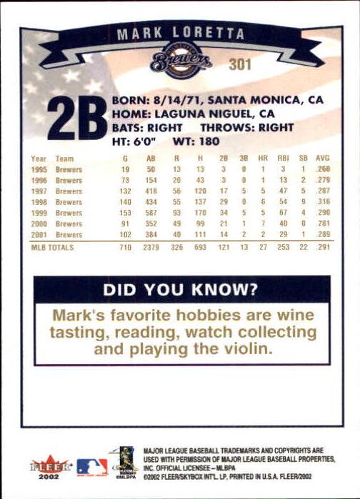 2002-Fleer-Oro-Espaldas-Beisbol-Tarjeta-Recoger miniatura 203