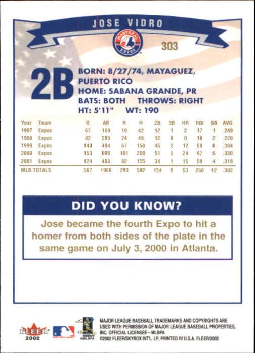 2002-Fleer-Oro-Espaldas-Beisbol-Tarjeta-Recoger miniatura 205
