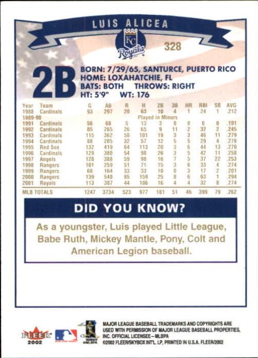 2002-Fleer-Oro-Espaldas-Beisbol-Tarjeta-Recoger miniatura 215