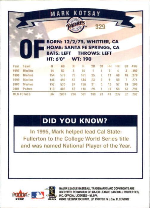 2002-Fleer-Oro-Espaldas-Beisbol-Tarjeta-Recoger miniatura 217