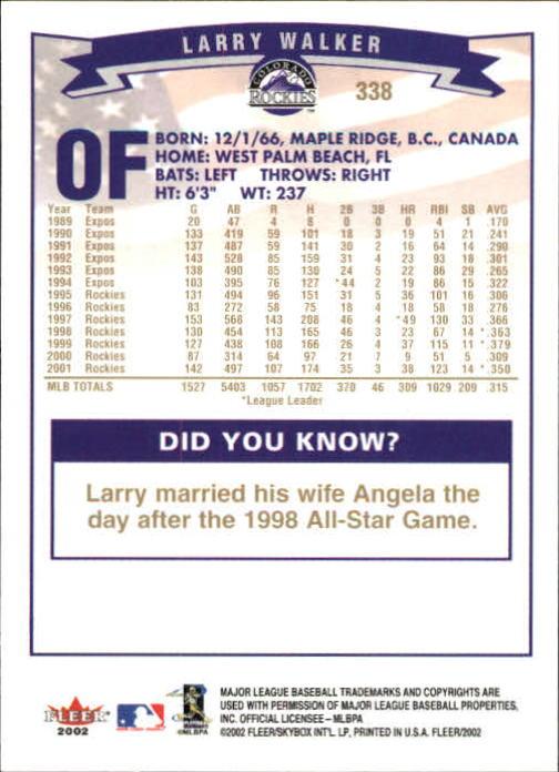 2002-Fleer-Oro-Espaldas-Beisbol-Tarjeta-Recoger miniatura 223