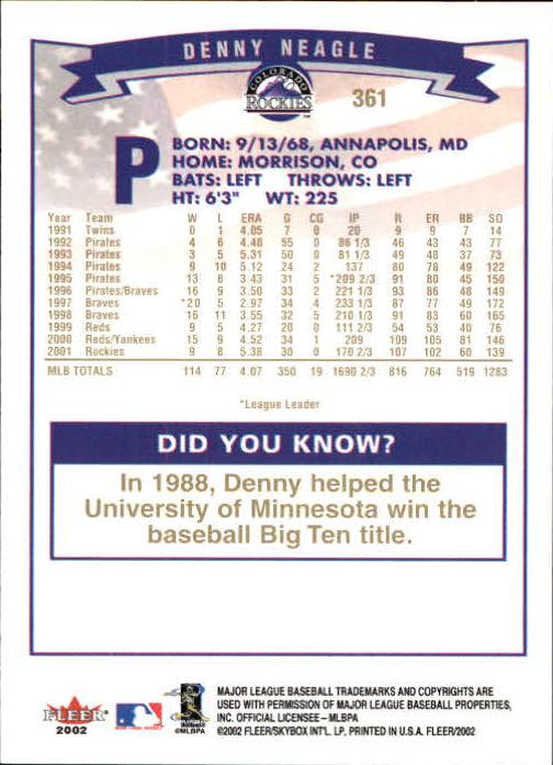 2002-Fleer-Oro-Espaldas-Beisbol-Tarjeta-Recoger miniatura 237