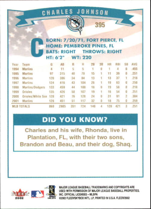 2002-Fleer-Oro-Espaldas-Beisbol-Tarjeta-Recoger miniatura 259