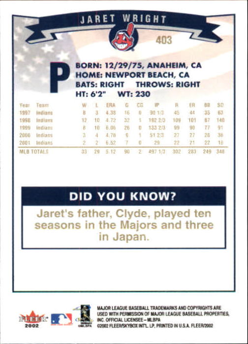 2002-Fleer-Oro-Espaldas-Beisbol-Tarjeta-Recoger miniatura 265