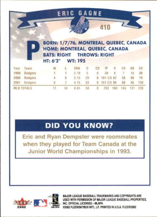 2002-Fleer-Oro-Espaldas-Beisbol-Tarjeta-Recoger miniatura 271